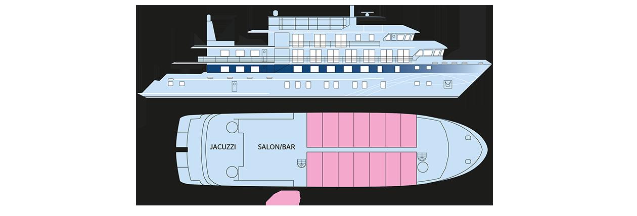 Plan du pont supérieur du Jacques Cartier