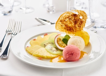 sorbet assortment with exotic fruits