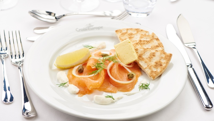 CroisiEurope appetizer smoked salmon from Scotland Highland and dill raifort cream and Nordic bread