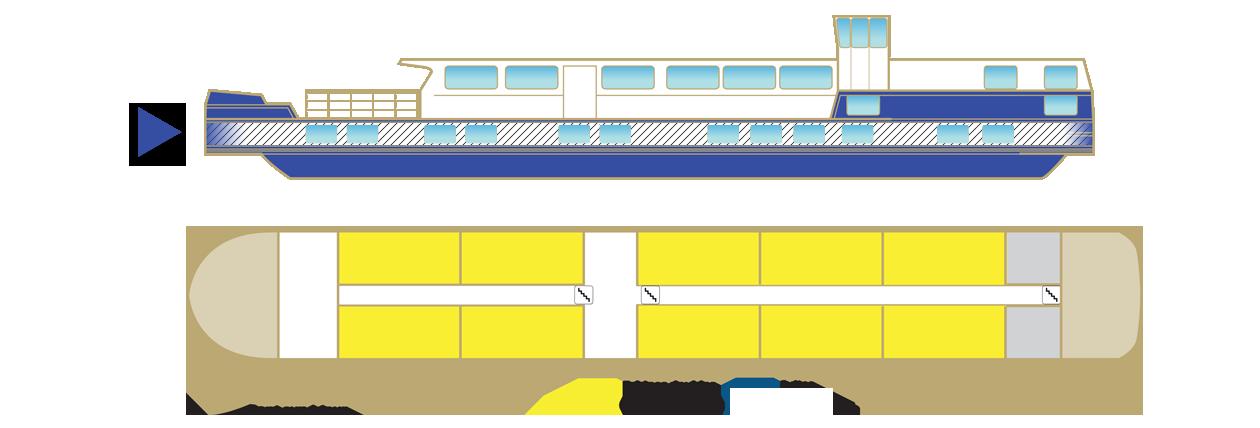 Plan du pont principal de la péniche Raymonde