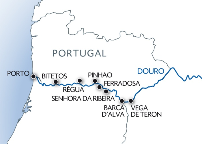 vallée du douro portugal carte Croisière famille   Porto , la vallée du Douro (Portugal) et