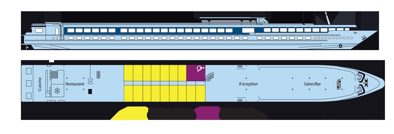 Plan 2019 du pont supérieur du MS Victor Hugo