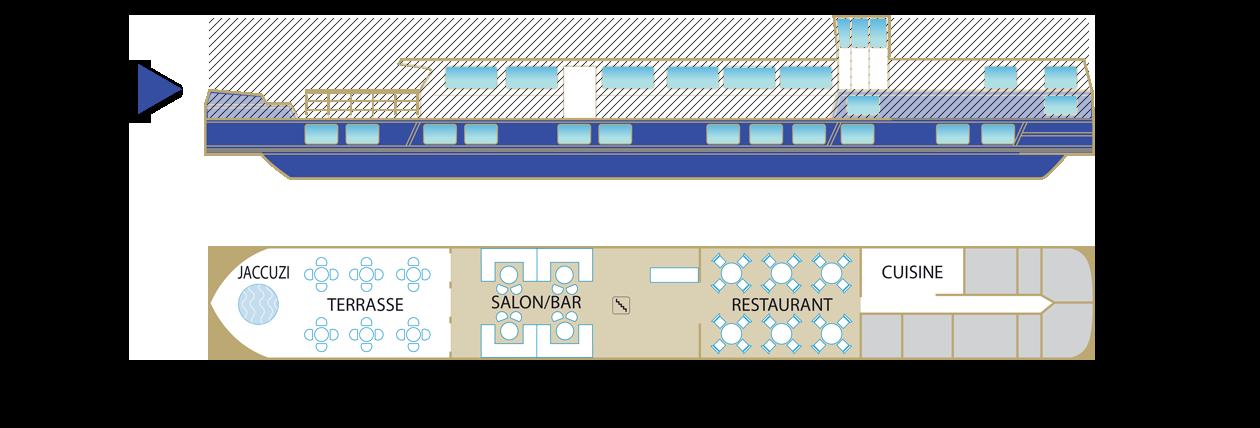 Plan du pont supérieur de la péniche Jeanine