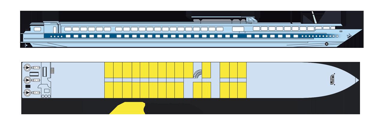 Plan 2019 du pont principal du MS Victor Hugo