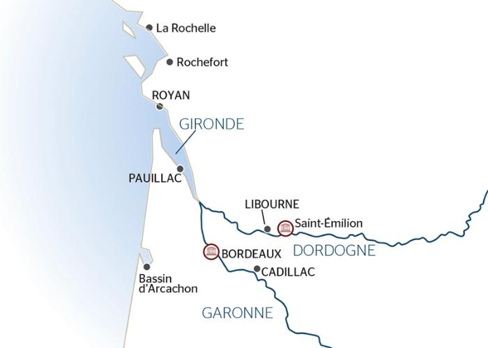 Croisière en Aquitaine de Bordeaux à Royan, l'estuaire de la Gironde, la  Garonne et la Dordogne (formule port-port)