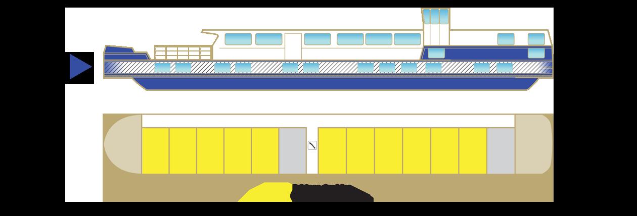 Plan du pont principal de la péniche Jeanine