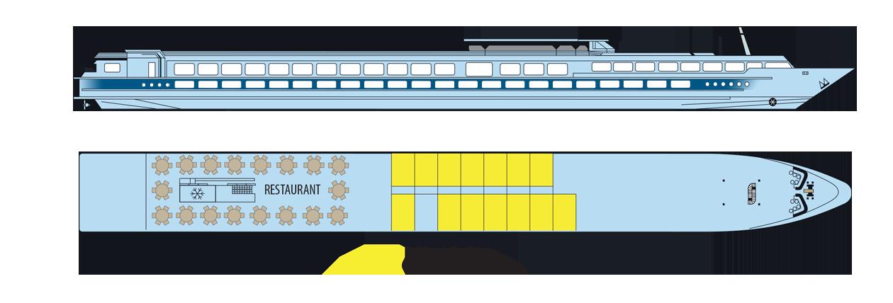 Plan du pont principal du MS Elbe Princesse II