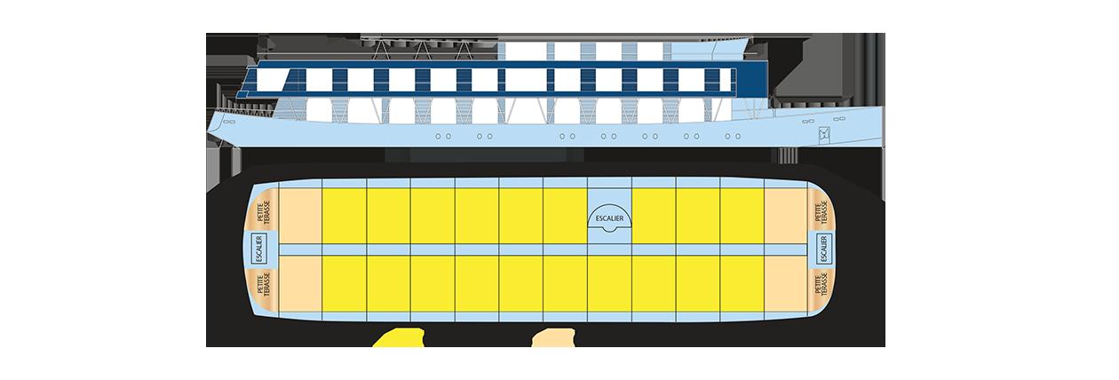 Plan du pont supérieur du RV Indochine II