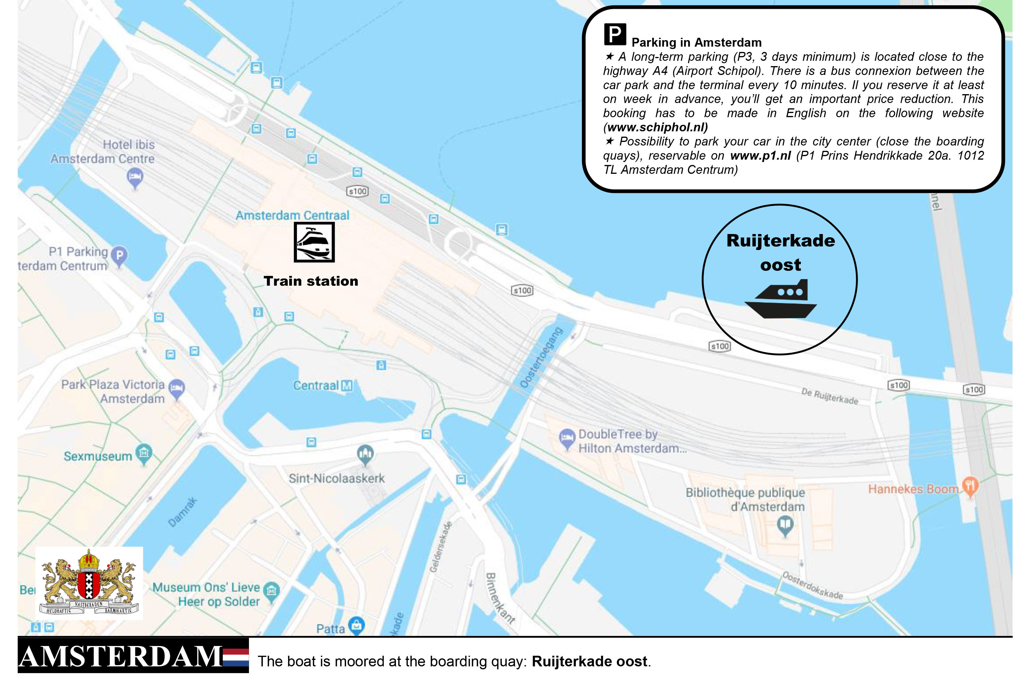Map to reach Ruijterkade Oost docking terminal in Amsterdam to board your CroisiEurope Rhine cruise.