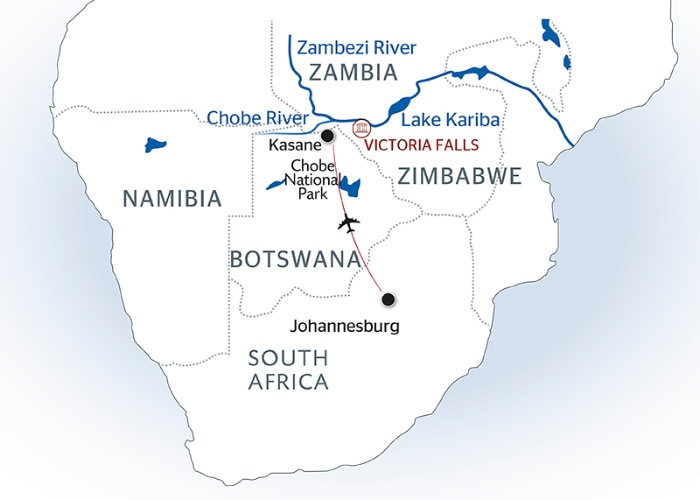 Map Of Africa Victoria Falls.Southern Africa Travel To The Ends Of The Earth Port To Port Cruise