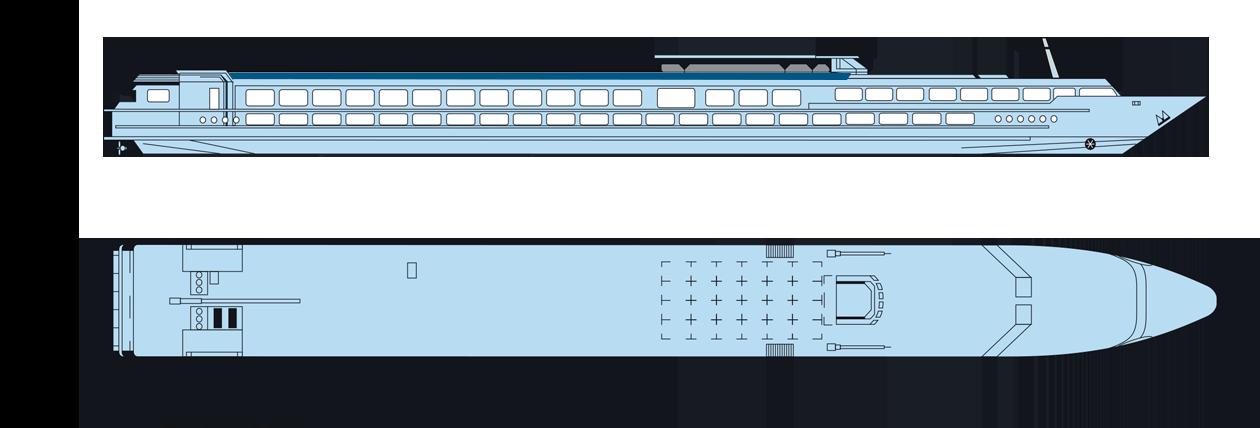 Plan du pont soleil du MS Elbe Princesse II