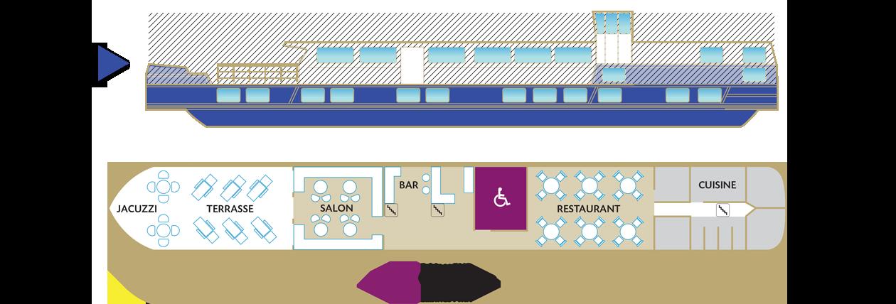 Plan du pont supérieur de la péniche Déborah