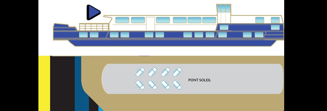 Plan du pont soleil de la péniche Déborah