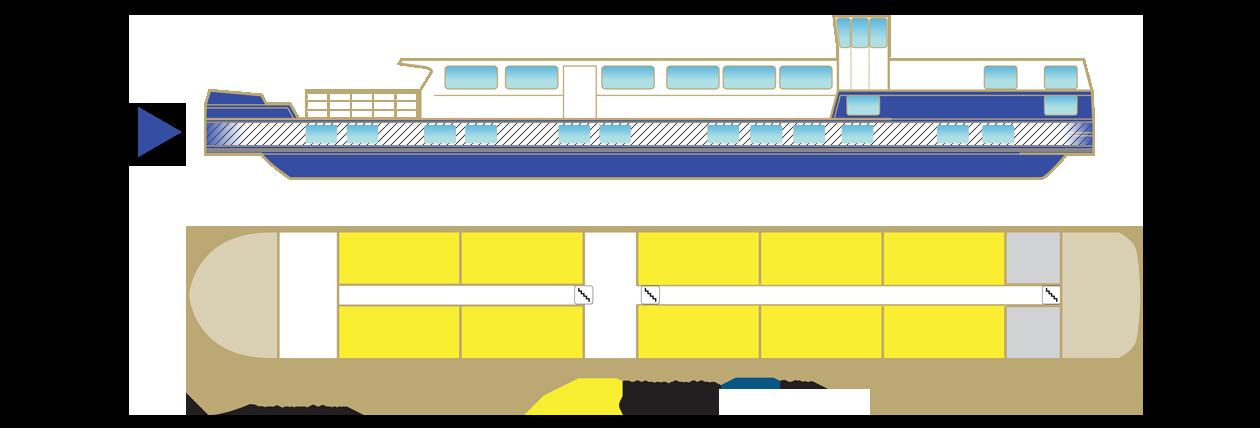 Plan pont principal péniche Anne-Marie