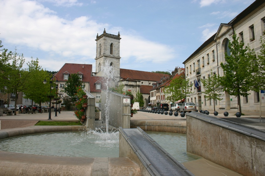 Republic square in Baume les Dames