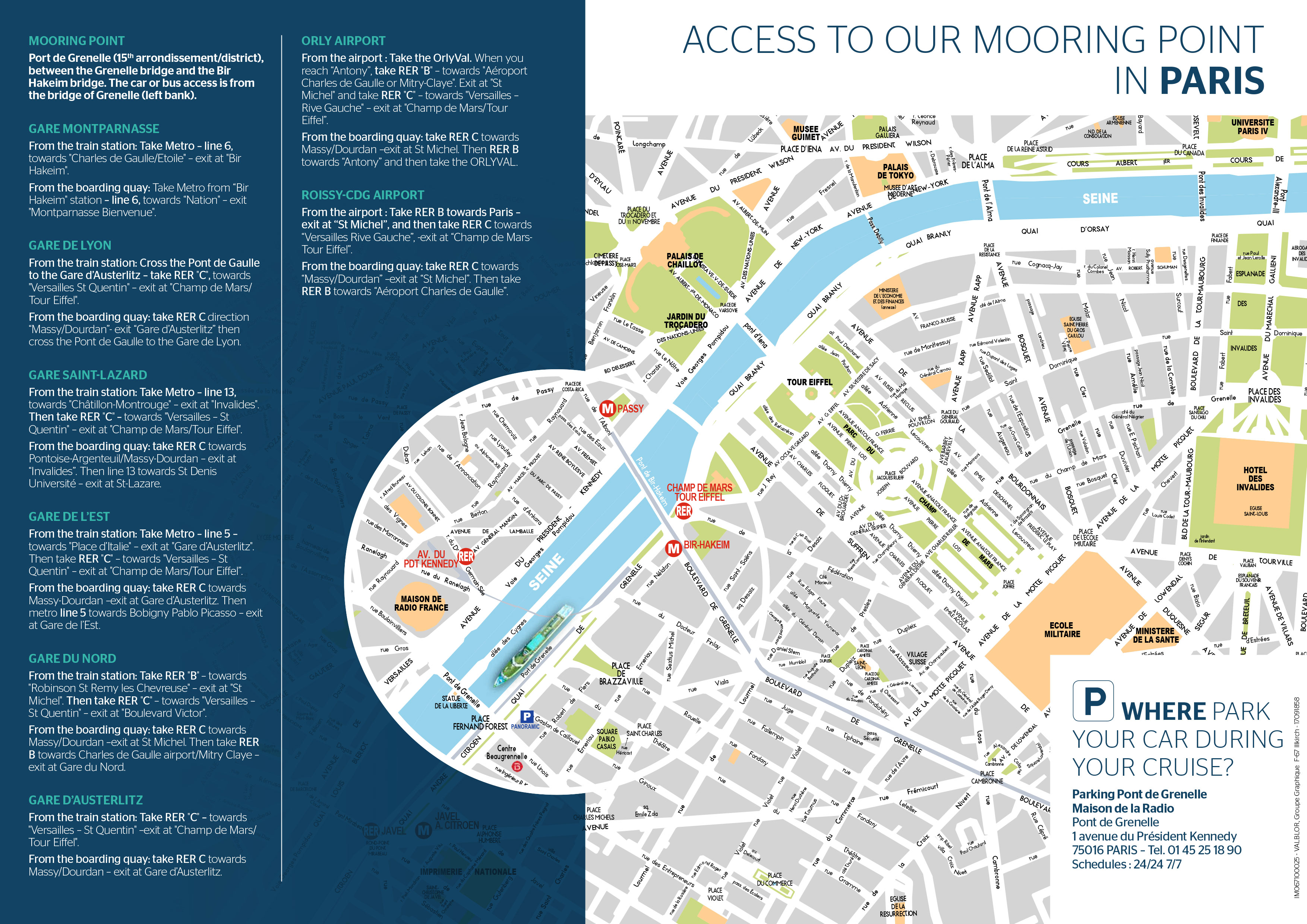 Download the map to reach the terminal to board your Seine Cruise in Paris.