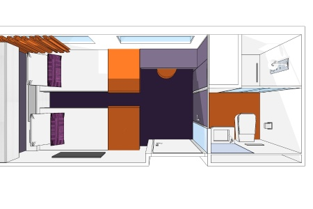 3D plan of a cabin on the Raymonde vessel