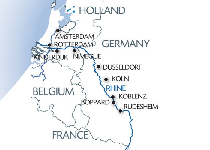 Map Of France Holland And Germany.The Romantic Rhine Holland Germany Cruisescapes