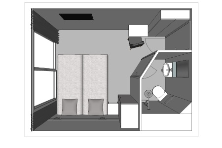 3D plan of a cabin on the MS Infante Don Henrique