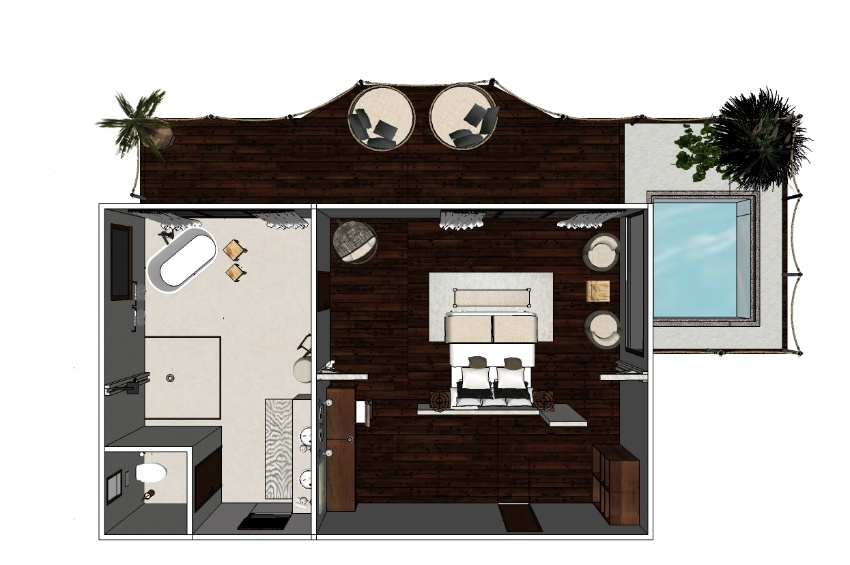 Cascade Island plan 3D nouvelle chambre